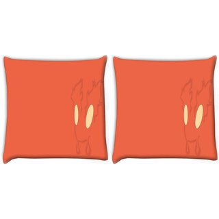 Snoogg Pack Of 2 Fury Digitally Printed Cushion Cover Pillow 10 x 10 Inch