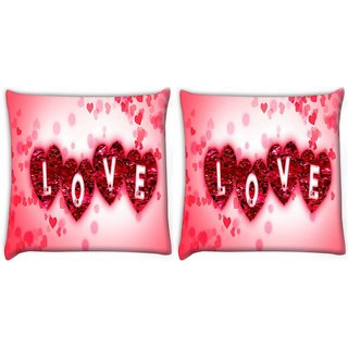 Snoogg Pack Of 2 Love Digitally Printed Cushion Cover Pillow 10 x 10 Inch