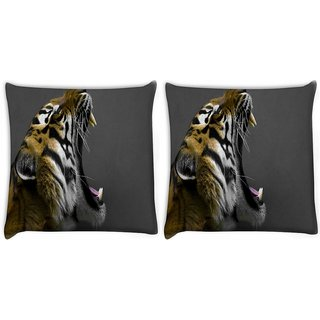 Snoogg Pack Of 2 Tiger Roar Digitally Printed Cushion Cover Pillow 10 x 10 Inch