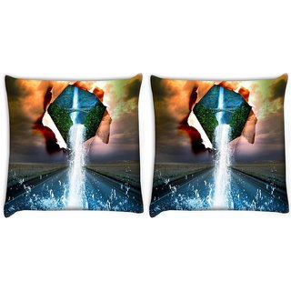 Snoogg Pack Of 2 Nature Water Pouring Digitally Printed Cushion Cover Pillow 10 x 10 Inch