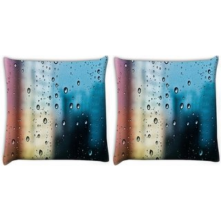 Snoogg Pack Of 2 Water Drops Digitally Printed Cushion Cover Pillow 10 x 10 Inch