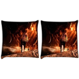 Snoogg Pack Of 2 Fury Lion Digitally Printed Cushion Cover Pillow 10 x 10 Inch