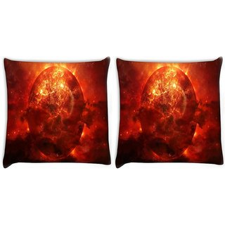 Snoogg Pack Of 2 Solar Sun Digitally Printed Cushion Cover Pillow 10 x 10 Inch