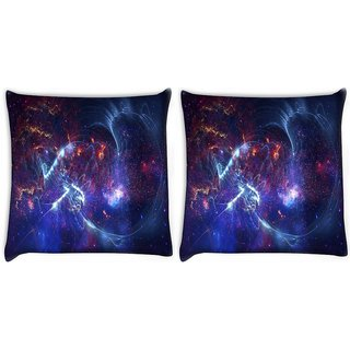 Snoogg Pack Of 2 Blue Rays Digitally Printed Cushion Cover Pillow 10 x 10 Inch
