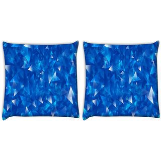 Snoogg Pack Of 2 Blue Glasses Digitally Printed Cushion Cover Pillow 10 x 10 Inch