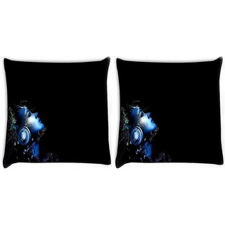 Snoogg Pack Of 2 Music Listener Digitally Printed Cushion Cover Pillow 10 x 10 Inch