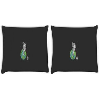 Snoogg Pack Of 2 Astronaut Digitally Printed Cushion Cover Pillow 10 x 10 Inch
