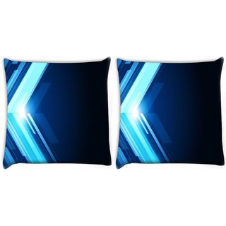 Snoogg Pack Of 2 Blue Pattern Design Digitally Printed Cushion Cover Pillow 10 x 10 Inch