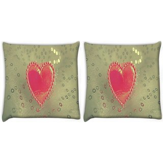 Snoogg Pack Of 2 Small Heart Digitally Printed Cushion Cover Pillow 10 x 10 Inch