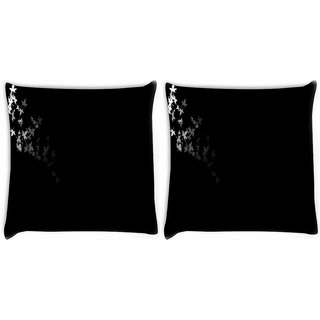 Snoogg Pack Of 2 Black And White Leaves Digitally Printed Cushion Cover Pillow 10 x 10 Inch