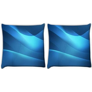 Snoogg Pack Of 2 Blue Waves Pattern Digitally Printed Cushion Cover Pillow 10 x 10 Inch