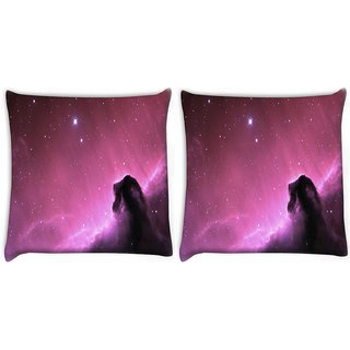 Snoogg Pack Of 2 Purple Galaxy Sky Digitally Printed Cushion Cover Pillow 10 x 10 Inch