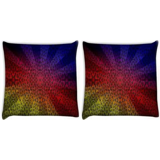 Snoogg Pack Of 2 Abstract Sun Rays Digitally Printed Cushion Cover Pillow 10 x 10 Inch