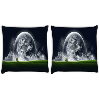 Snoogg Pack Of 2 Abstract Grey Earth Digitally Printed Cushion Cover Pillow 10 x 10 Inch