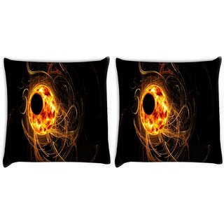 Snoogg Pack Of 2 Eclipse Wallpapers Digitally Printed Cushion Cover Pillow 10 x 10 Inch