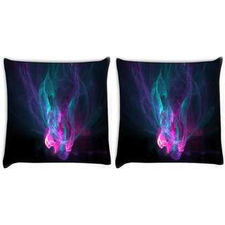 Snoogg Pack Of 2 Multicolor Smoke Pattern Digitally Printed Cushion Cover Pillow 10 x 10 Inch