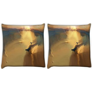 Snoogg Pack Of 2 Under Water World Digitally Printed Cushion Cover Pillow 10 x 10 Inch