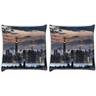 Snoogg Pack Of 2 Empire State Digitally Printed Cushion Cover Pillow 10 x 10 Inch
