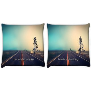 Snoogg Pack Of 2 Faith Road Digitally Printed Cushion Cover Pillow 10 x 10 Inch