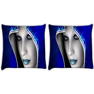 Snoogg Pack Of 2 Fantastique Art Digital Digitally Printed Cushion Cover Pillow 10 x 10 Inch
