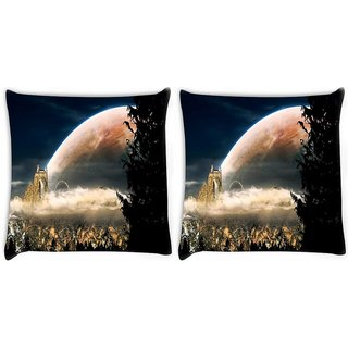 Snoogg Pack Of 2 Fantasy Landscape Church Digitally Printed Cushion Cover Pillow 10 x 10 Inch