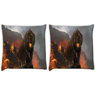 Snoogg Pack Of 2 Fire Breathing Tiger Digitally Printed Cushion Cover Pillow 10 x 10 Inch