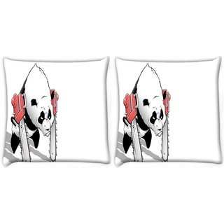 Snoogg Pack Of 2 Panda With Chainsaw Paws Digitally Printed Cushion Cover Pillow 10 x 10 Inch