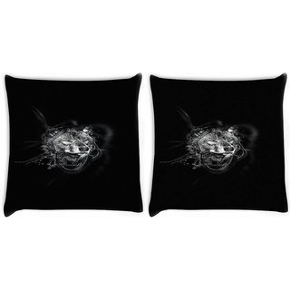 Snoogg Pack Of 2 Wolf By Ekud Dark Digitally Printed Cushion Cover Pillow 10 x 10 Inch