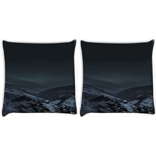 Snoogg Pack Of 2 Nature Earth Dark Digitally Printed Cushion Cover Pillow 10 x 10 Inch