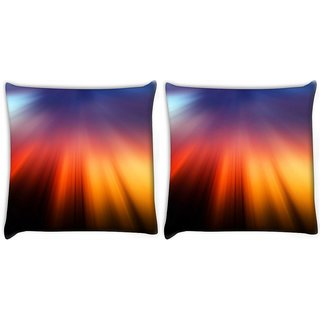 Snoogg Pack Of 2 Pattern Rays Digitally Printed Cushion Cover Pillow 10 x 10 Inch