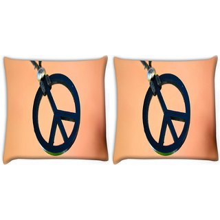 Snoogg Pack Of 2 Peace And Love Digitally Printed Cushion Cover Pillow 10 x 10 Inch