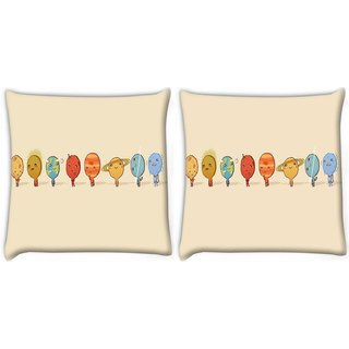 Snoogg Pack Of 2 Nine Planets Digitally Printed Cushion Cover Pillow 10 x 10 Inch