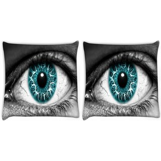 Snoogg Pack Of 2 Blue Eyes Digitally Printed Cushion Cover Pillow 10 x 10 Inch