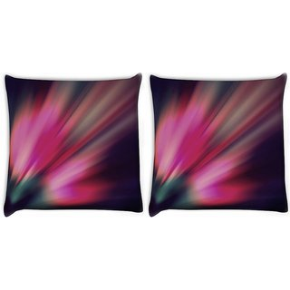 Snoogg Pack Of 2 Abstract Pink Rays Digitally Printed Cushion Cover Pillow 10 x 10 Inch