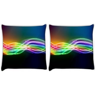 Snoogg Pack Of 2 Sparkling Rays In Dark Background Digitally Printed Cushion Cover Pillow 10 x 10 Inch