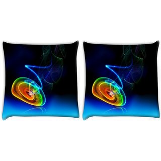 Snoogg Pack Of 2 Multicolor Disc Digitally Printed Cushion Cover Pillow 10 x 10 Inch