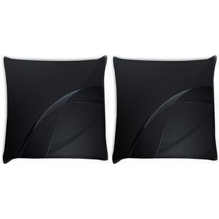 Snoogg Pack Of 2 Dark Black Color Design Digitally Printed Cushion Cover Pillow 10 x 10 Inch