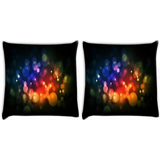 Snoogg Pack Of 2 Red And Blue Spots Digitally Printed Cushion Cover Pillow 10 x 10 Inch