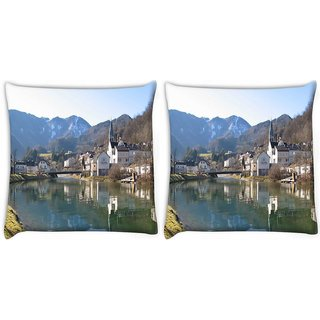 Snoogg Pack Of 2 Houses And Bridge Near The Lake Digitally Printed Cushion Cover Pillow 10 x 10 Inch