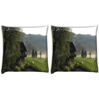 Snoogg Pack Of 2 Bunglow Near The Lake Digitally Printed Cushion Cover Pillow 10 x 10 Inch