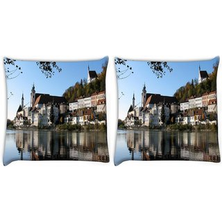 Snoogg Pack Of 2 Buildings Near The Lake Side Digitally Printed Cushion Cover Pillow 10 x 10 Inch