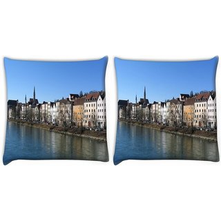 Snoogg Pack Of 2 Big House And River Digitally Printed Cushion Cover Pillow 10 x 10 Inch