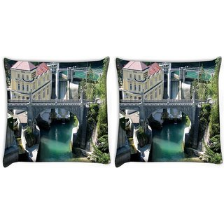 Snoogg Pack Of 2 Lake View Houses Digitally Printed Cushion Cover Pillow 10 x 10 Inch