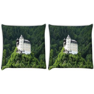 Snoogg Pack Of 2 House In The Tomb Digitally Printed Cushion Cover Pillow 10 x 10 Inch