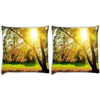 Snoogg Pack Of 2 Sunrise In Garden Digitally Printed Cushion Cover Pillow 10 x 10 Inch