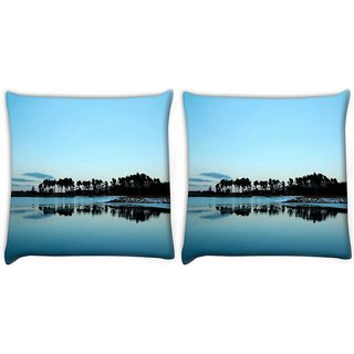 Snoogg Pack Of 2 Trees On The Beach Side Digitally Printed Cushion Cover Pillow 10 x 10 Inch