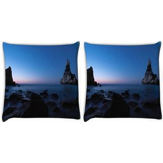 Snoogg Pack Of 2 Mountains In The Ocean Digitally Printed Cushion Cover Pillow 10 x 10 Inch