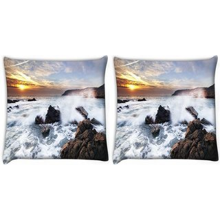 Snoogg Pack Of 2 Water Hitting The Stone Digitally Printed Cushion Cover Pillow 10 x 10 Inch