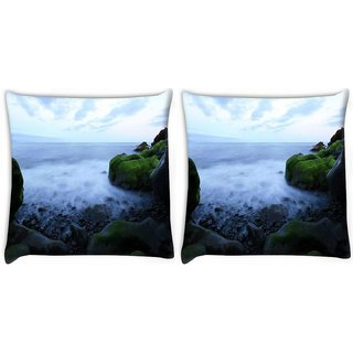 Snoogg Pack Of 2 Sea Side Green Rocks Digitally Printed Cushion Cover Pillow 10 x 10 Inch