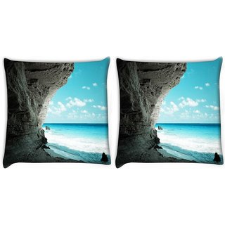Snoogg Pack Of 2 Beach Side Place Digitally Printed Cushion Cover Pillow 10 x 10 Inch